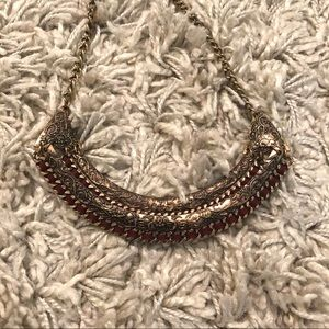gold & red suede engraved bib necklace